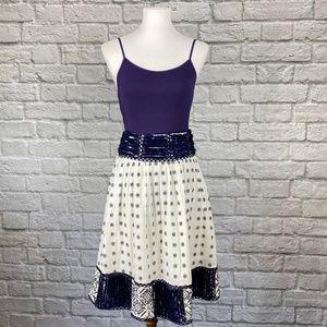 NWT Maeve Jansen Ivory Navy Embroidered Skirt